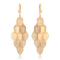 Womens Vintage Drop Dangle Filigree Leaf Hoop earrings Gold Filled Cute Earings