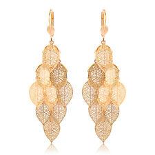 Womens Vintage Dangle Filigree Leaf Hoop earrings Gold Filled Cute Earings