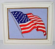 American Flag Latch Hooked Rug Wood Framed Wall Hanging Picture Completed