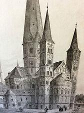 Estampe empire occident cathédrale de Bonn milieu XIXeme siècle DEUTSCHLAND