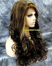 Long Layered Wavy Brown Golden Blonde Mix Full Lace Front Wig Heat Ok #8.27.613