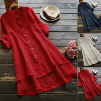 Women Ladies Cotton Linen Button Long Sleeve Long Shirt Blouse Tunic Top T-Shirt