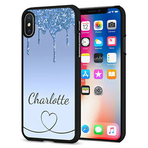 PERSONALISED NAME Glitter HEART Phone Hard Case Cover For iPhone 12 164-4 Black