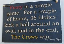 Simple Game Adelaide Crows Footy Sign Aussie Rules Bar Shed Man Cave Pub Jersey