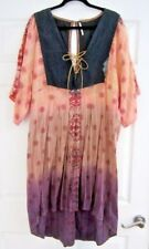FREE PEOPLE CHIC PEASANT TYE~DYE DRESS LONG SLEEVE ASYMMETRICAL HEM SZ LARGE
