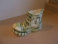 "Vintage Vase Tennis Shoe 8"" Long x 5"" Tall Green & White (1977)"