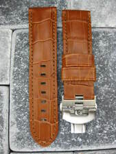 24mm Leather Strap Brown Watch Band Deployment Buckle Set Super Avenger 24