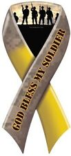 """GOD BLESS MY SOLDIER"" Car Ribbon Magnet  QUALITY"