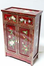 Oriental Furniture Cabinet Cupboards Credenza Burgundy Lacquer Cabinet,