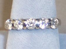 14K WHITE GOLD 5 DIAMOND WEDDING BAND RING .85 CARAT APPRAISED AT $3,050 SZ 4.5