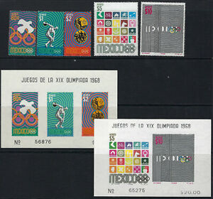 MEXICO:1968 Olympic Games AIRMAIL Issue set+MS SG1178-82+MS1183 MNH