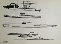 Fond d'atelier Hajime KATO (1925-2000) 1 oeuvre design sous-marins 1970 (9)