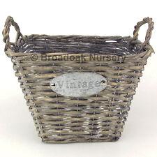 Stile Vintage in Vimini Cesto di stoccaggio, Rustico, Salice, lavaggio bianco, finitura anticata