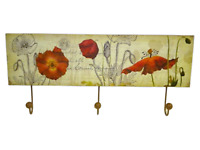 Triple Coat Robe Hooks Rack Poppies Design Ex Large Home Decor Plaque SG1234