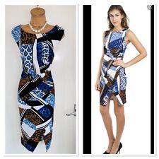 Joseph Ribkoff Colourful geometric Jersey Dress  With Gathered Waist UK Size 18