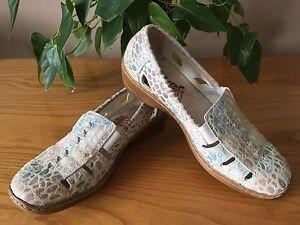 Rieker Antistress beige mottled suede leather slip on casual shoes UK 5 EU 38
