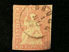 Schweiz Helvetia ab 1854 - Sitzende Helvetia (sog. Strubel) 15 Rappen     Nr.8