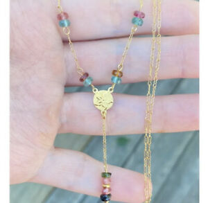 rare solid 14k yellow gold GENUINE TOURMALINE necklace- one of a kind!!