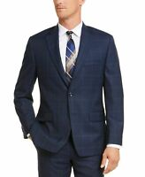 Michael Kors Mens Blazer Navy Blue Size 50 Plaid Printed Notched Wool $450 #081