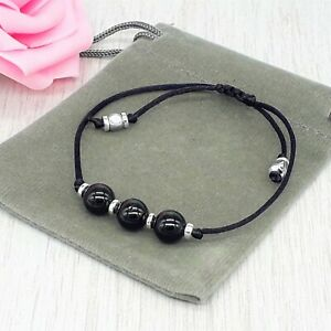 Handmade Natural Black Tourmaline Crystal Healing Gemstone Cord Bracelet. 6/8mm.