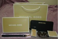 Genuine Michael Kors Black Wristlet Saffiano Leather Jet Set Travel Purse Wallet