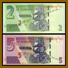 Zimbabwe 2 5 Dollars Set, 2016/2017 P-New Unc