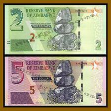 Zimbabwe 2 5 Dollars Set, 2016/2017 P-New Unc