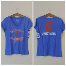 NBA New York Knicks Womens V-Neck Tee 2X Porzingas Blue Orange Triblend Logo