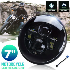 7'' Motorcycle LED Headlight Projector Hi-Lo DRL Round Lamp For Honda for Yamaha