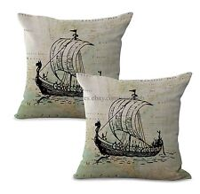 Us Seller-Set of 2 nautical beach decor boat map cushion cover decorative pillow