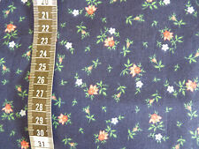 PRETTY FLORAL MINIPRINT on Navy Blue 1990 Quilting Cotton Remnant 70cm 27""