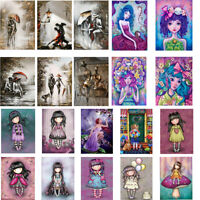 5D Full Round DIY Drill Diamond Painting Girl Doll Mosaic Wall Art Home Decors