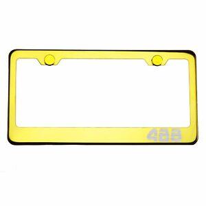 Gold Chrome License Plate Frame 488 Laser Etched Metal Screw Cap