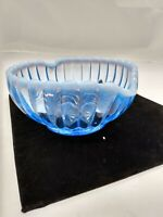 Vintage Fenton Blue Heart Shaped Opalescent Ribbed Glass Bowl/Dish