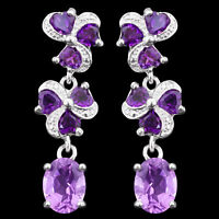 35X10MM 100% NATURAL 9X7MM AFRICAN AMETHYST GEMSTONE STERLING SILVER 925 EARRING