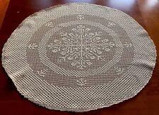"""VINTAGE HAND Crochet Taupe Cotone Ovale Fiocco Di Neve Tovaglia CENTRO Copertura 27X23"""""""