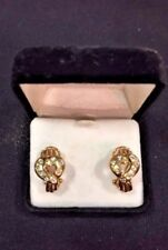 Estate diamond dotted heart earrings in 14K yellow gold with omega back