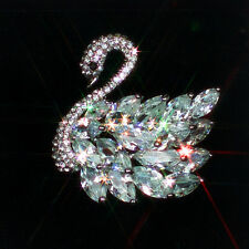 Gorgeous Flowers Brooch With Many Large Cubic Zirconia Stones