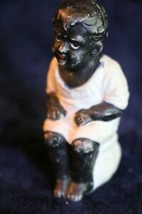 """Antique All Bisque Potty Doll Naughty Doll Bisque Doll on Potty 3"""" Antique Doll"""