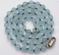 """Fashion Natural 6mm Faceted Blue Aquamarine Gemstone Beads Necklace 18"""" AAA"""