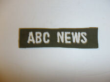 c0351 Vietnam era ABC News name tape White on OD Fatigues R10E