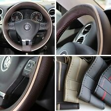 "14"" Steering Wheel Cover Brown w/ Beige Strip PVC Leather Wrap 47016 Coupe Small"