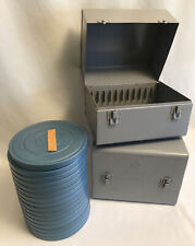 """Set of 2 Brumberger w/16 Music 7"""" Audio Reels Cans in Metal Carrying Cases Boxes"""
