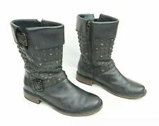 UGG CONOR BLACK LEATHER STUDDED BIKER STYLE BOOTS FITS UK 7 - 7.5