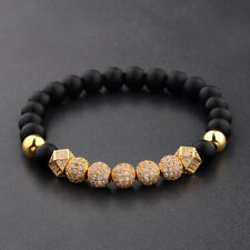 Matte Lava Beads Fashion Men's Bracelets 7 Pieces Zircon Balls Hand-Woven 8Mm