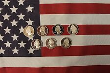 1992 - 1998 Silver Proof Quarters - 7 coins - 1993 1994 1995 1996 1997