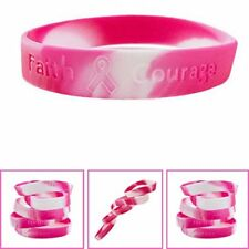 Womens Pink Ribbon Breast Cancer Awareness Bracelets Pink Survivor Faith Hope
