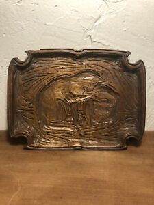 1927 American Folk Art Relief Carving By LISTED Elmer Macrea 1875-1953 COS COB