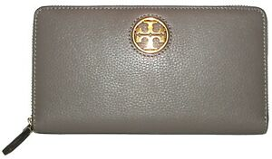 TORY BURCH Carson Silver Maple Leather Zip-Around Clutch  Wallet NWT