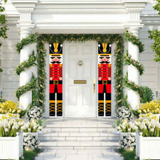 Christmas Front Door Nutcracker Banner Porch Garden Indoor Hanging Ornaments